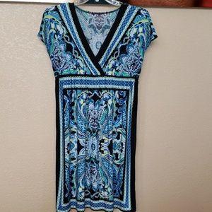 Blue/Black Patterned Dress